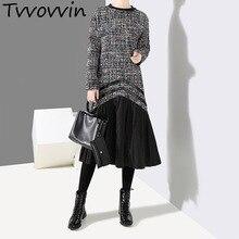 2019 nuevo Otoño Invierno manga larga cuello redondo bajo negro de cuero de  la Pu falda a cuadros de lana vestido de las mujeres. 7647d5199251