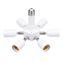 E27 6 in 1 LED Light Lamp Bulb Adapter Converter Split Splitter Base Socket Lamp Holder Converters Lighting Accessories White(China)