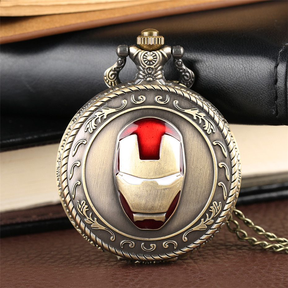 Classic Bronze Iron Man Theme Quartz Pocket Watch Cool Analog Display Vintage Necklace Pendant Clock Chain Birthday Gifts Boys