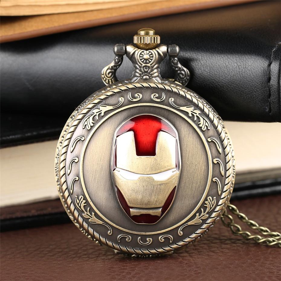 Classic Bronze Iron Man Theme Quartz Pocket Watch Cool Analog Display Vintage Necklace Pendant Clock Chain Birthday Gifts Boys