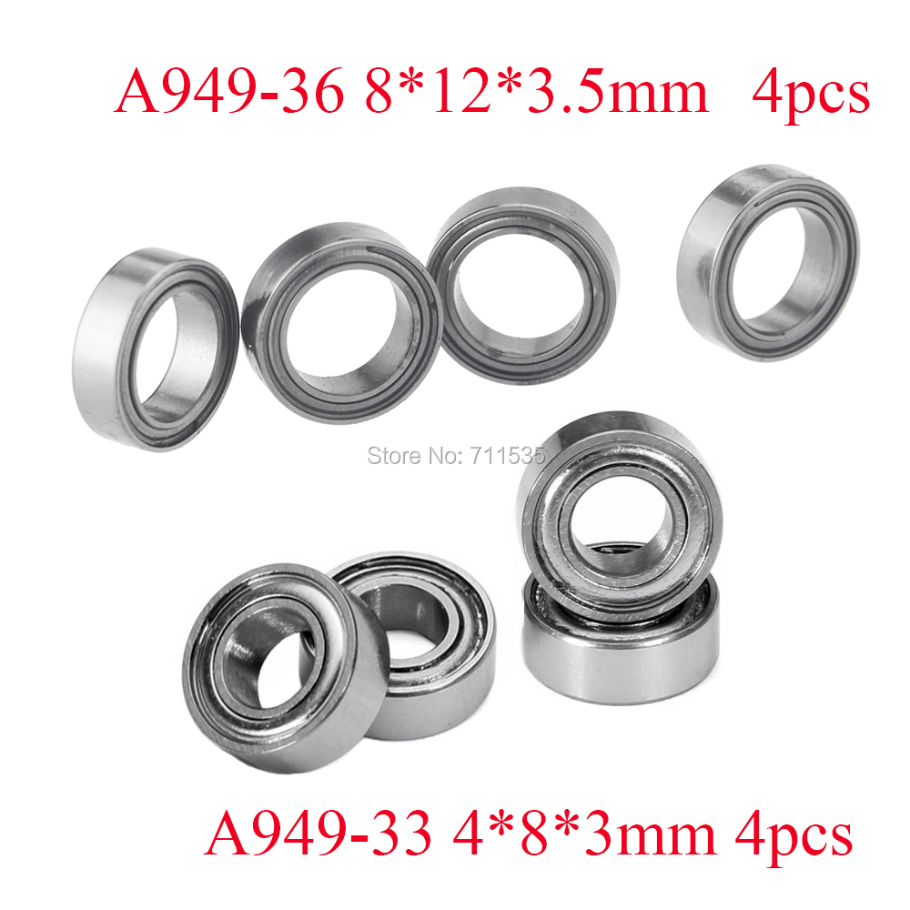8pcs Bearings 8x12x3.5mm 4x8x3mm Bearing For Wltoys A959 A949-36 A949-33 RC Car