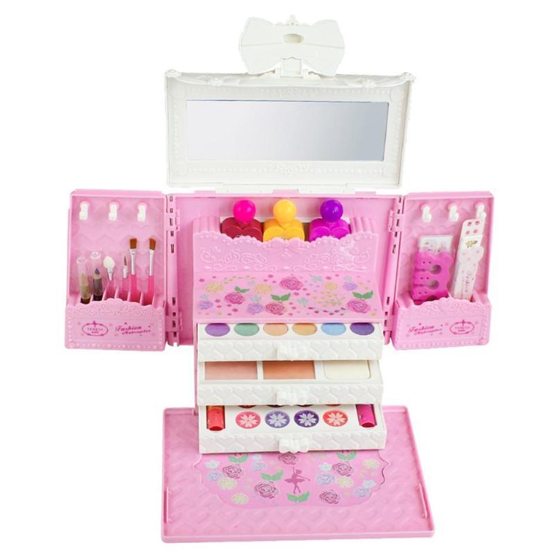 Princesse Cosmétiques Ensemble Jouet Make Up Kits Jouer à Faire Semblant Enfants cadeau beauté Mobile Maquillage Palette Kits Mignon maison de jeu Enfant Cadeau