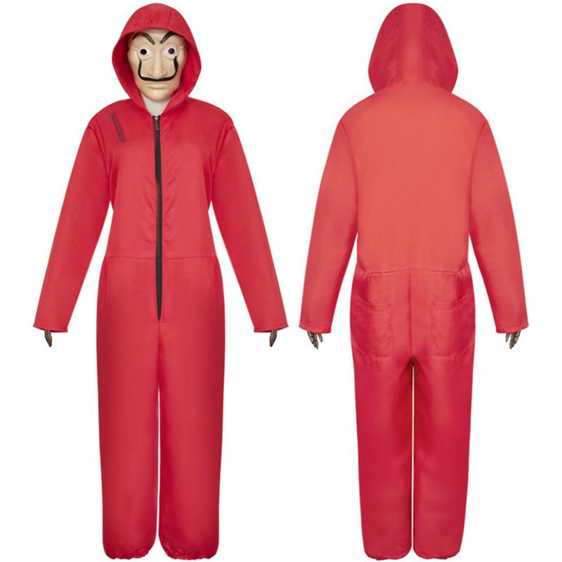 Banknote House Cosplay COS Clothing Red Jumpsuit For La Casa De Papel Suitable For Halloween Games Anime Role Playing