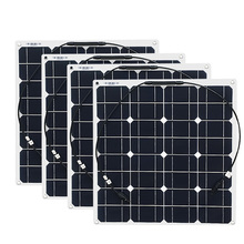 4x 50w Free Shipment Solar Panel Flexible 12V Solar System Solar Module Solar Cell Outdoor RV/Marine/Boat Cheap Sales