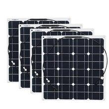 4x50 واط شحن مجاني لوحة طاقة شمسية مرنة 12 فولت النظام الشمسي وحدة الخلايا الشمسية في الهواء الطلق RV/البحرية/قارب مبيعات رخيصة