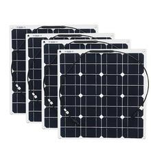 4x50 w ücretsiz kargo GÜNEŞ PANELI esnek 12V güneş sistemi güneş modülü güneş pili açık RV/deniz /tekne ucuz satış