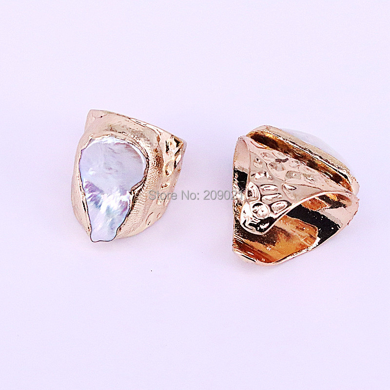 Image 3 - NEW Charm 6Pcs Gold Electroplated Natural Fresh Water Pearl Shell  Rings Fashion Woman Jewelry Copper RingsRings