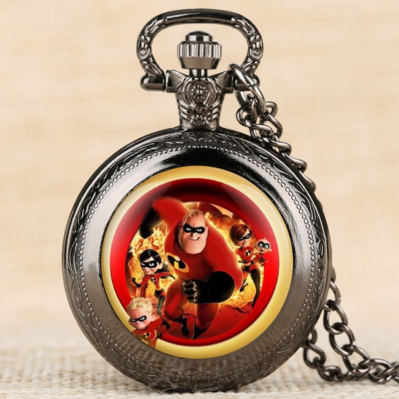 The Incredibles 2 Quartz Pocket Watch Mr. Incredible Family Helen Jack Bob Parr Necklace Pendant Watches For Children Kids Gifts