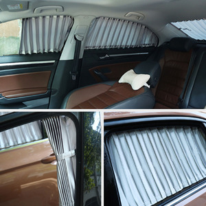 Image 3 - 2 個 70 センチメートル車カーテン窓カバーセット格納式自動カーテン窓ローラー日よけブラインドブロックプロテクターカーテン