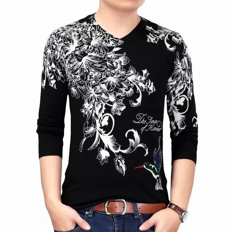 2019 Fashion Pullover Flora Printed Sweater Mens Erkek Kazak Pull Homme Hiver Slim Fit Pull Homme Sweater Mens Chompas Hombre