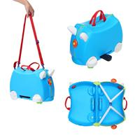 Cute Cartoon Children Rolling Luggage Spinner Ride On Suitcase Wheels Student Multifunction Kids Travel Bag Green Pink Blue