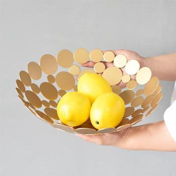 Cesta De Frutas | Placa De Plato De Pan De Hierro Forjado Redonda Hueca De Moda Innovadora