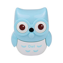 Safe Handheld Manual Pencil Sharpener Single-hole Sharpeners School Supplies for Pupils Kids Cute Owl Shape Yellow(China)