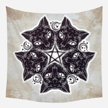 Loartee Mysterious Black Cat Astrology Pattern Tapestry Witchcraft Mandala Print Picture Cloth Wall Hanging Decoration
