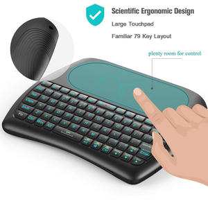 Image 5 - Mini teclado inalámbrico para Android TV, D8 Pro i8, inglés, ruso, español, 2,4 GHz, Touchpad Air Mouse, 7 colores, retroiluminado
