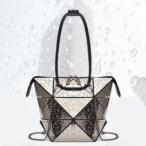 Image 5 - Luxury Female Designer Luminous Deformation Folding Diamond Handbags Geometric Rhombic Fashion Shoulder Bag Women Crossbody Tote