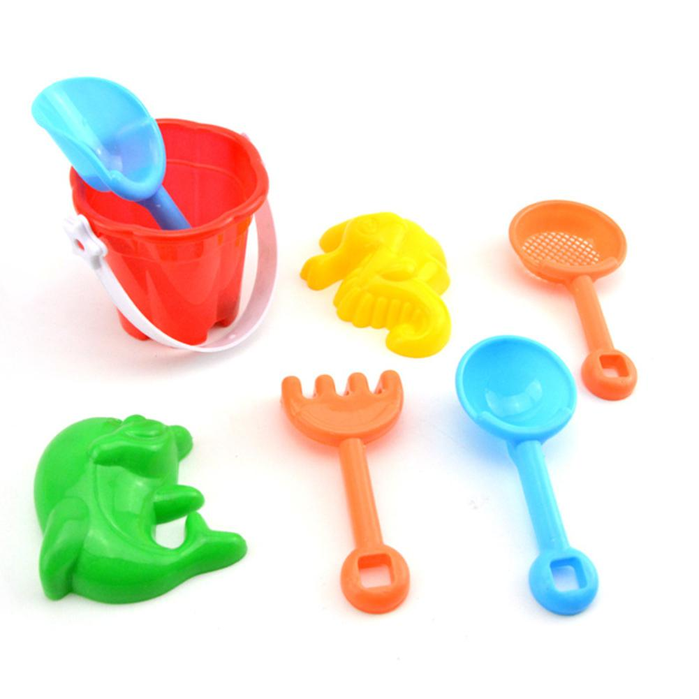 7Pcs/Set Kids Beach Sand Play Toys Simulate Bucket Shovel Rake Dredging Tools Random Style