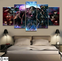 Home Decor Modular Canvas Picture 5 Piece Overlord Ainz Ooal Gown Animation Poster Wall For Painting Wholesale
