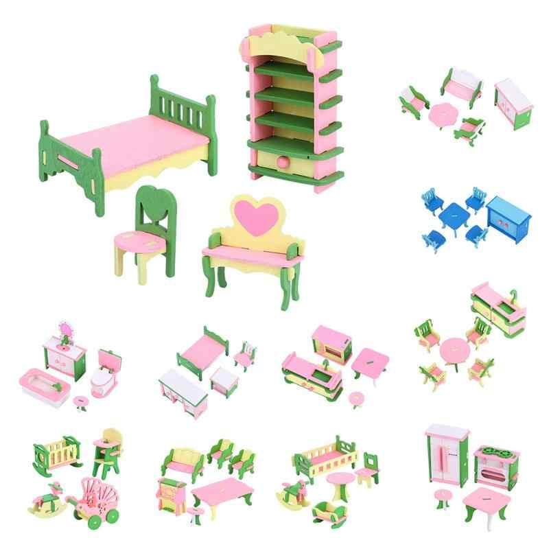 Kids Pretend Play Wooden Dollhouse Furniture Toys For Dolls Bedroom Kitchen Nursing Room Room Set Dolls Toys Gifts For  Children