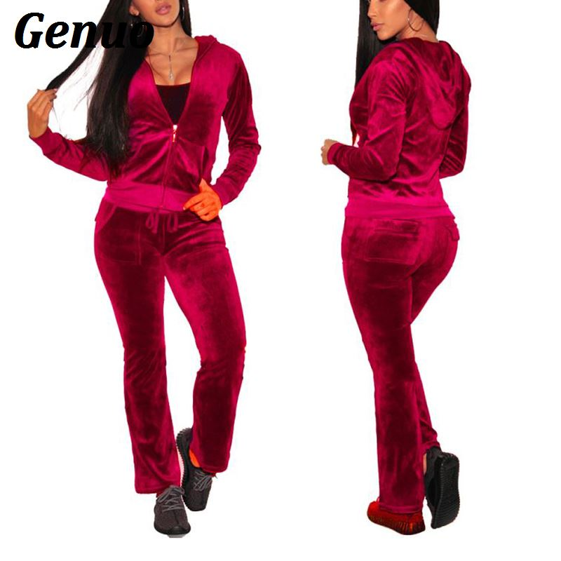 Genuo Autumn Winter Casual Tracksuit Fashion 2 Piece Set Tracksuit For Women Velvet Jacket Top And Pants Sweatsuit Women Suit