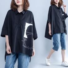 #5775 Summer 2019 Asymmetrical Long Shirt Women Black Thin Lapel Collar Casual Streetwear Loose Plus Size Womens Tops And Blouse