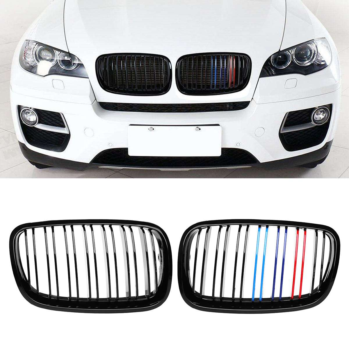 Glossy Black M Color A Pair Car Front Bumper Grille Grill Cover Trim Kidney For 2007 2013 For BMW X5 X6 E70 E71