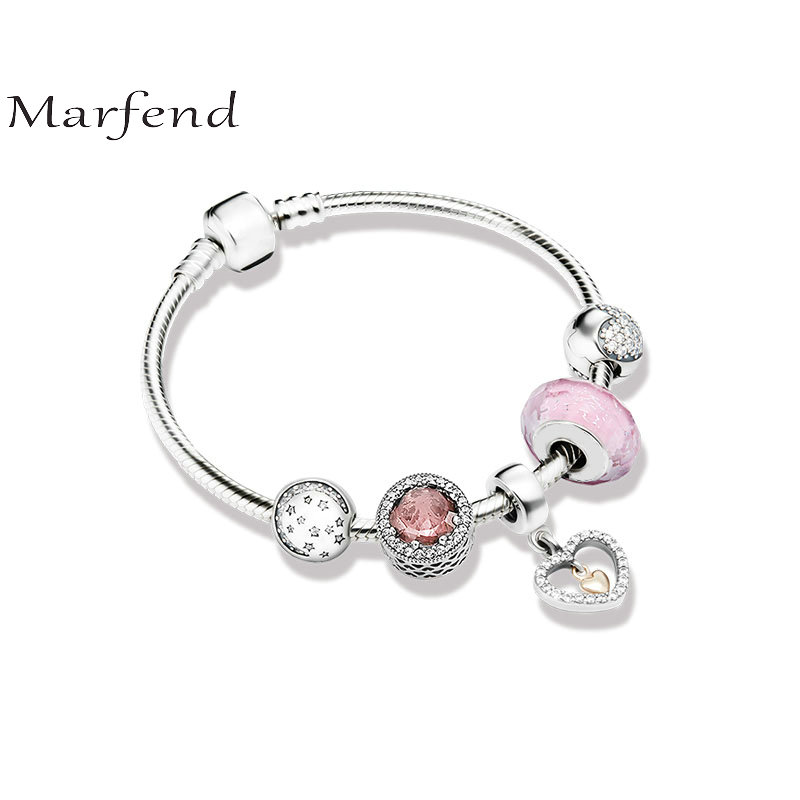 Marfend 925 silver bracelet Stars love and pink Fit Original Marfend Bracelet Women DIY Jewelry Gifts
