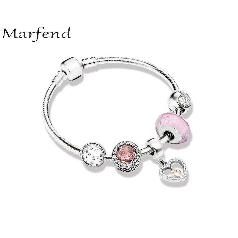 Marfend 925 bracelet en argent étoiles, amour et rose Fit Original Marfend Bracelet femmes bijoux à bricoler soi-même cadeaux