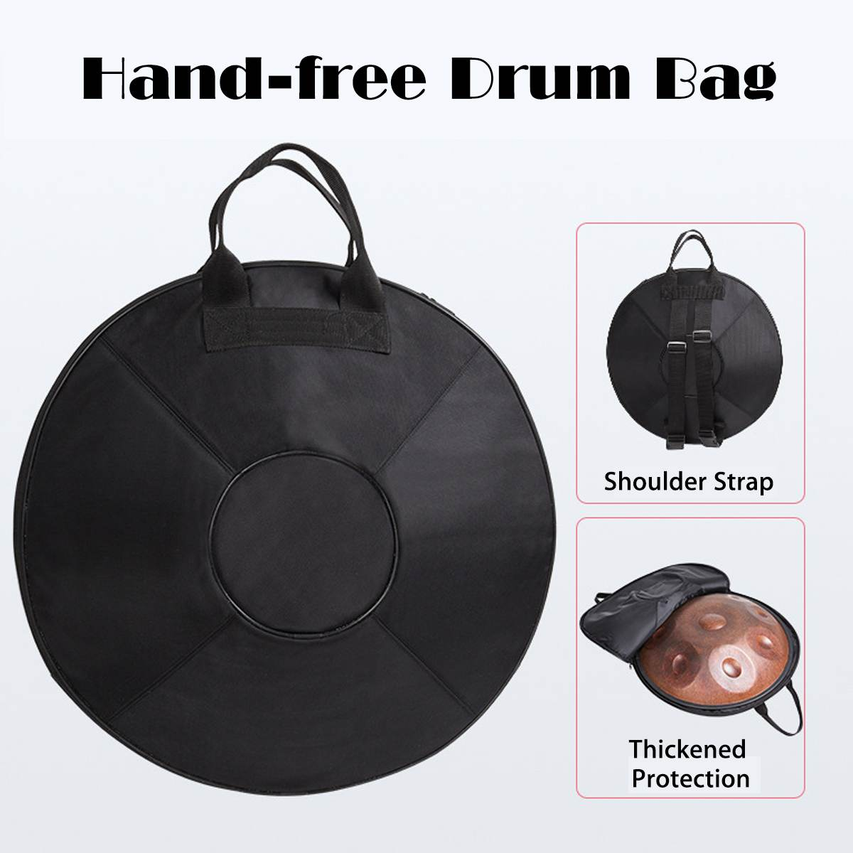 hand drum bag protection handpan case cover black thicken hand bag cover shoulder straps bags. Black Bedroom Furniture Sets. Home Design Ideas