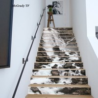 13pcs/set 3D Stair Stickers Waterproof Removable Self adhesive Wall Floor Decals Murals Stickers Home Decor Landscape Home Decor