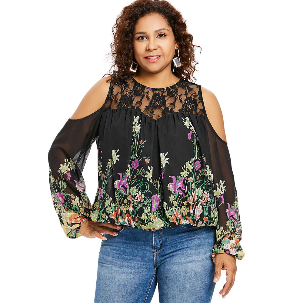 f2508dbd2eaa0e Detail Feedback Questions about Kenancy Women Plus Size Floral Lace Panel  Blouse Cold Shoulder Flower Cut Out Transparent Sexy Blouses Casual Autumn  Tops ...