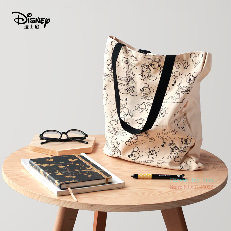 Genuine Disney Mickey Classic Retro Multi-function Simple Canvas Women Bag Canvas Bag Fashion Mummy Bag For Girls Gifts Hot Sale