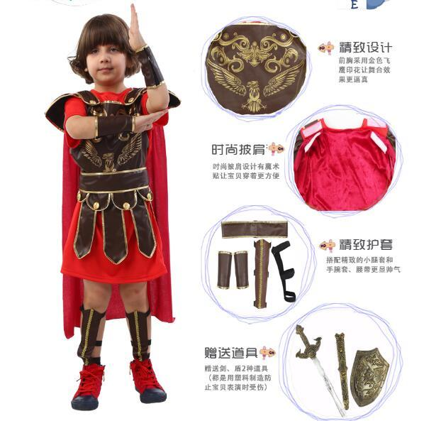 Costumes de fête de Cosplay d'halloween Costume de Cosplay de chevalier romain Costume de Cosplay mascarade enfants Costume de fête contient avec Sward