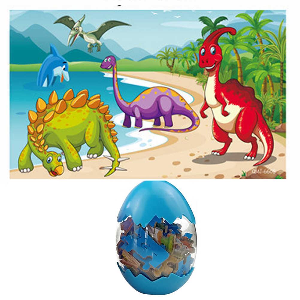 Ovos de Dinossauro gigante 60 Peças Dinossauro Puzzle Crianças Brinquedos de Plástico Cor De Madeira Em Caixa Surpresa Ovos de Dinossauro Puzzle de Madeira