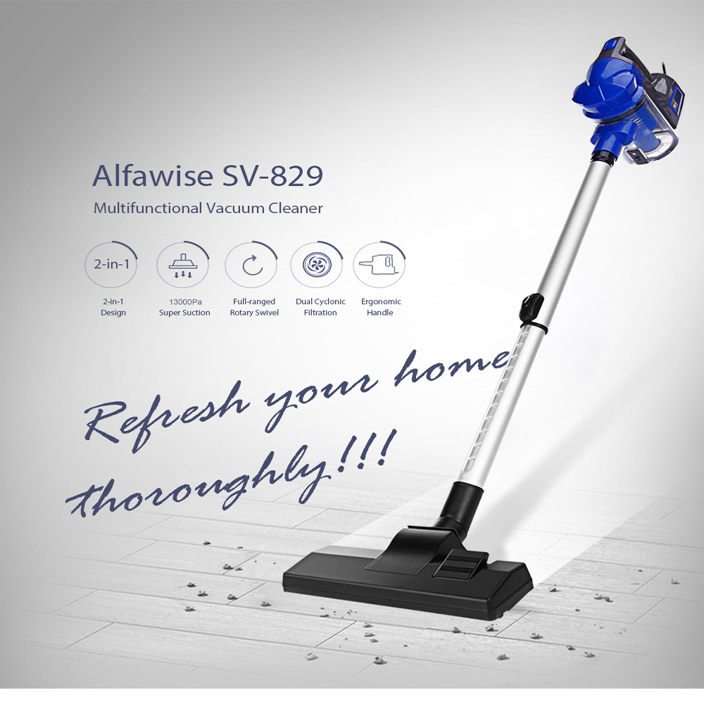Alfawise SV - 829 Portable 2-In-1 Handheld Vacuum Cleaner Powerful Cleaning Dust Catcher