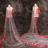 Artificial Red Fabric Flower Veil One Layer Long Cathedral Bridal Wedding Veil Ivory Tulle Cut Edge Handmade