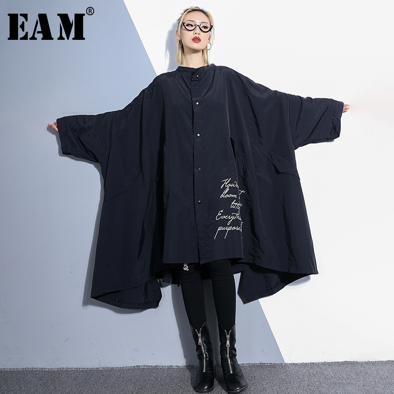 [EAM] 2019 New Spring Summer Stand Collar Long Sleeve Letter Printed Loose Long Big Size Windbreaker Women   Trench   Fashion JQ065