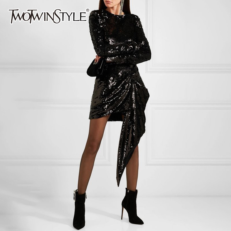 TWOTWINSTYLE Heavy Sequins Dress Female O Neck Long Sleeve Asymmetrical Mini Dresses Women Autumn 2019 Fashion