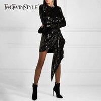 TWOTWINSTYLE Heavy Sequins Dress Female O Neck Long Sleeve Asymmetrical Mini Dresses Women Autumn 2018 Fashion Clothes New