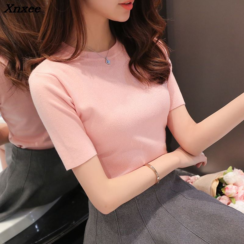 Female knit short sleeved sweater women 2018 new spring knitwear thin sweater short sleeve sweater slim half sleeve pullover in Pullovers from Women 39 s Clothing