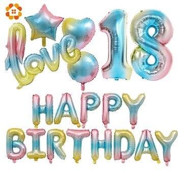 1 pc 32 pollici Gradiente Numero Stagnola Balloons New Arcobaleno Digitale Globo Bambini Buon Compleanno/Decorazione di Festa di Nozze di Amore aria Ballon