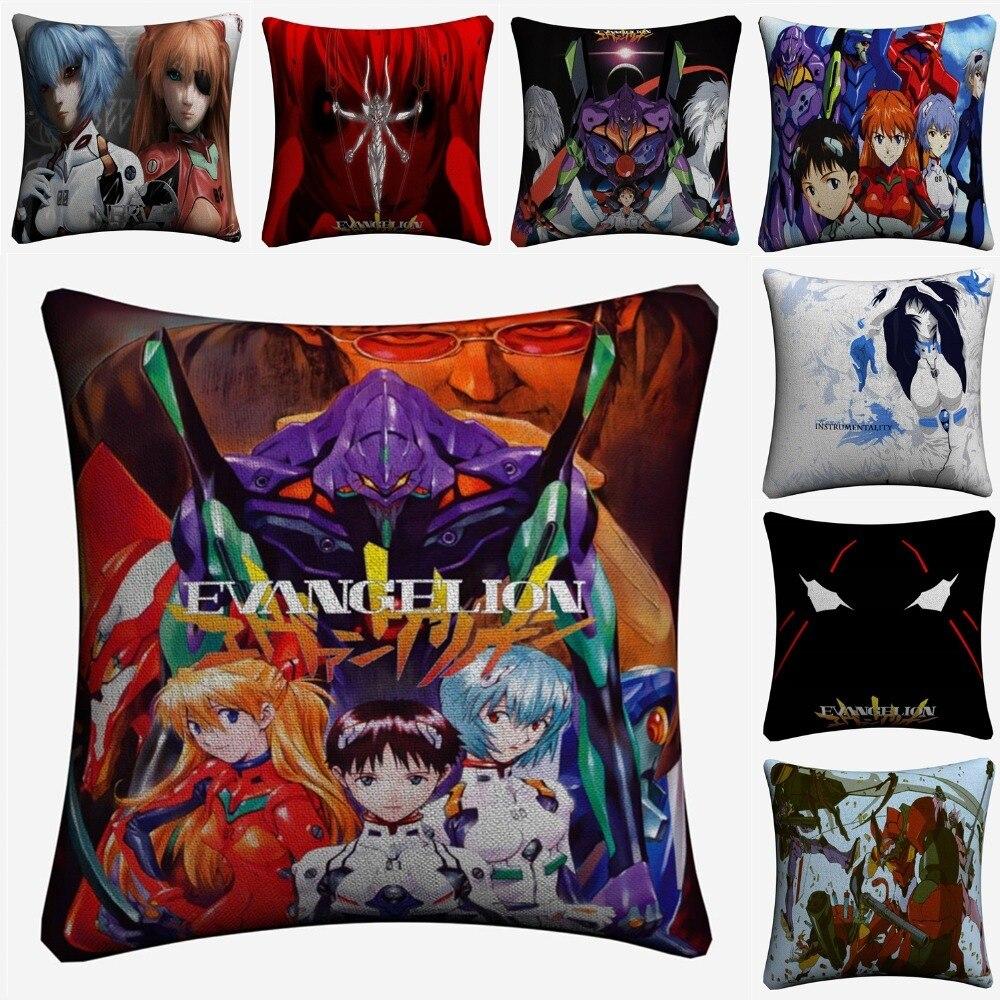 Neon Genesis Evangelion Anime Decorative Linen Cushion Cover For Sofa Chair 45x45cm Throw Pillow Case Home Decor Almofada