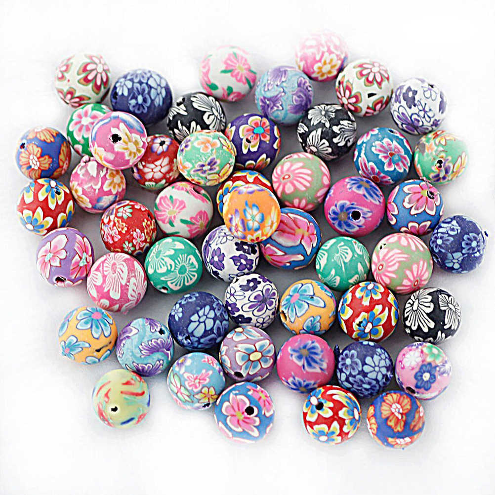 50pcs 10mm Colored Round Beads Polymer Clay Beads DIY Craft Beads For Bracelet Necklace Fimo Jewelry Wood Accessories