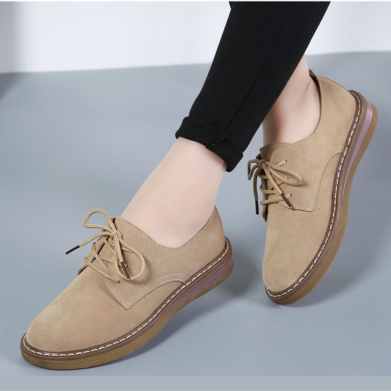 NIS Size 36-40 Vintage Women Oxford Shoes Woman Spring Summer Female Faux   Leather     Suede   Lace up Flats Retro School Oxford Shoes