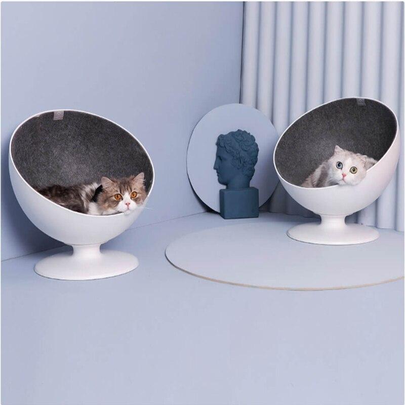 Nouveau chat patron Fiber filature nid pour animaux de compagnie blanc minimaliste interactif lit chiot grotte tapis de couchage Pad nid chenil Pet fournitures