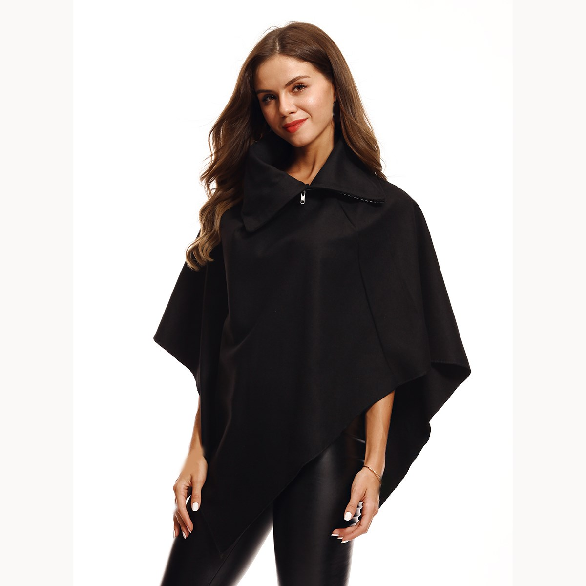 2018 New Fashion Winter Autumn Ladies Warm Wool Blends Coat Women Loose Half Sleeve Ponchos And