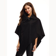 2018 New Fashion Winter Autumn Ladies Warm Wool Blends Coat Women Loose Half Sleeve Ponchos And Capes