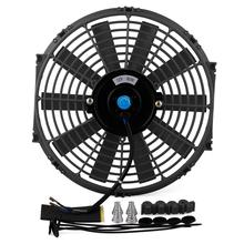 80W Universal Car High Power Pull Racing Electric Radiator 12V Engine Cooling Straight Blade Fan Kit Water Oil Cooler