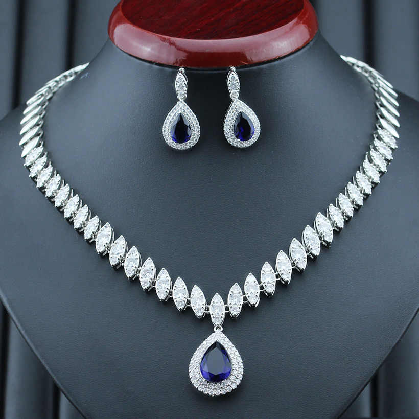 Fashion Necklace & Earrings Sets Blue Silver Color Cubic Zirconia Wedding Jewelry Sets For Women T154