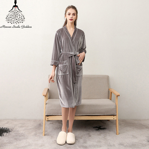 Image 5 - Men Womens Sleep Lounge Robes Gold Velvet  Autumn Nightgrowns Couple Robe Bathrobe Male Female Dressing Gown Lounge Homewear